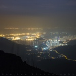 Night view of Chek Lap Kok Airport and Tung Chung in Lantau Island, Hong Kong. This was taken on my way down Lantau Peak after sunset. It got dark half way down to the main road on the hiking trail. Hope you enjoy!