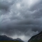 A stormy afternoon at the Canadian Rockies in Jasper National Park, Alberta.