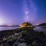 Milky way above Pacific Ocean taken at Whytecliff Park, West Vancouver, British Columbia, Canada