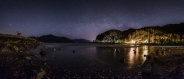 Shoreline of Porteau Cove on a low tide starry night.