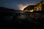 It was a aurora active night last night with a Geomagnetic Activity level of 5 Kp. A good reason to head out hoping to capture some colorful night sky. As I was driving up north on Sea-to-Sky highway still thinking where I should go. And as usual Porteau Cove is a great stop just to see if there are any color going on in the sky. Get off the car and not to mention of the color, it was hardly see just a few stars because it was so cloudy. Waited for an hour as the sky started to clearing up, but there are still no color showing. Wandered around in the park for another half hour and see the tide and getting lower. So I changed my shoes and decided to head down to the water for some dark sky water shot. Hope you enjoy!