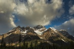 Sun light shining on top of Mount Patterson in the Banff National Park, Alberta, Canada