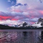 Sunrise moment with wonderful light at Bow Lake in Banff National Park, Alberta, Canada
