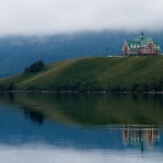 Located in Waterton Lakes National Park, the Prince Of Wales Hotel is sure a beauty sitting above the horizon with it's color nicely blended to the surrounding. Hope you enjoy it!