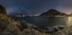 Panorama shot of Shek O beach on the southeast side of Hong Kong island. A windy evening in the beginning of Feburary. The lights from the beach illuminated the bay nicely with milky way in the background