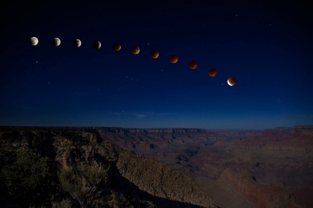Blood Moon Over Canyon
