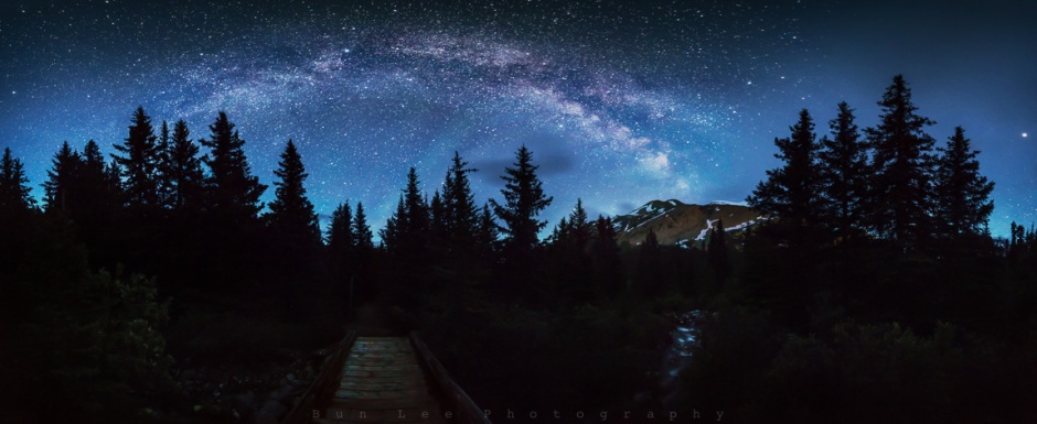 8 vertical images combined panorama. Hilda Peak at Columbia Icefield on Icefield Parkway, Alberta, Canada