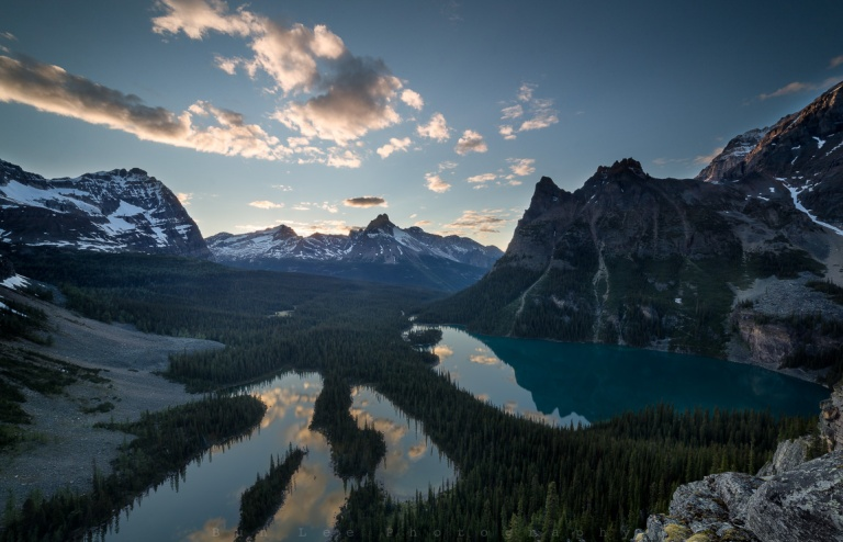 View from Opabin Prospect viewpoint overlooking Lake O'Hara on the right and Mary Lake on the left. Surrounded by majestic mountains in the Canadian Rockies.