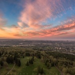 Morning painted sky before sunrise of Lower Mainland, Vancouver. Taken from Burnaby Mountain