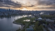 Sunrise moment of False Creek from above. The bending of False Creek can be seen from this angle forming a nice S-Curve through Burrard Bridge and Granville Bridge.