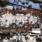 Roller Coaster from above after snow.