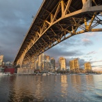 Sunset time at Granville Island under the Granville Street Bridge. Have a great day!
