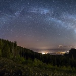 Panoramic of mountain lookout point in Harrison Mills. The milky way arc going from the left towards north to the right of the galactic center of the milky way to the southwest direction. I did took few more shots on the right of this panorama shot, but it was too much light pollution to be include in this panorama. So this results were total use of 8 portrait oriented shots combined together. Hope you enjoy it and have a great night!!
