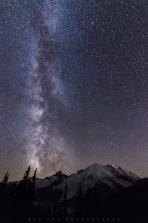 Milky way above Mount Rainier. Mount Rainier is the highest mountain in Washington State, USA. It is a large active volcano in the Cascade Range of the Pacific Northwest. Hope you enjoy and have a good night!