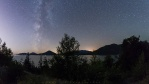Panoramic view of the milky way connected the sea to the sky. No wonder they called this highway the Sea To Sky highway (connecting Vancouver to Squamish). I believe many have seen this sea to sky view during the day. But have you seen the view there at night?