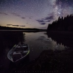 Milky Way above Roche Lake in Roche Lake Provincial Park