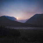 Smokey night sky along the Icefields Parkway in the Canadian Rockies. This time was at the Stutfield viewpoint right before moonset behind the glacier in Stutfield Peak. Hope you enjoy it and have a great night