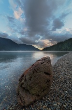 Alouette Lake at sunset time.