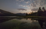 Vermilion Lakes in Banff, Alberta before moonset.