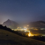 Night view of the lovely town of Banff. Taken back in August when all the smoke from the forest fire are still surrounding half of British Columbia. I was trying to find a higher spot hoping there will be less hazy. Altough the smoke are covering part of the town, but I was quite happy to see half of the night sky are clear! Hope you enjoy!