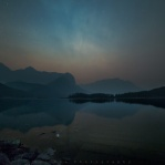 A night visit to the Upper Kananaskis Lake in Alberta, Canada. Taken back in August where all the smoke from the forest fire were still covering this area...