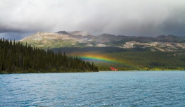 Some said there is no bad weather, only inappropriate clothing. And if you don't sit through the rain, you don't get to see the rainbow. Lucky didn't rain much during our hike. But was great witnessing this intense color rainbow above Simpson's Num-Ti-Jah Lodge at Bow Lake